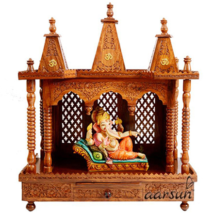 Hand-carved Wooden Temple in Rosewood UH-MNDR-175