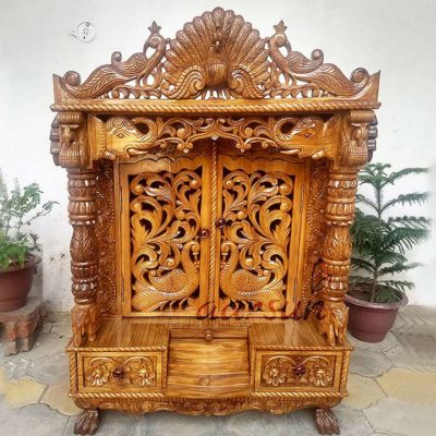 Peacock Design Door Temple  in Teak Wood UH-YT-194