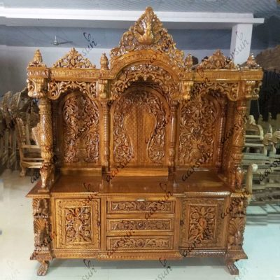 UH-YT-145 Handcrafted Large Pooja Cabinet