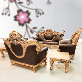 Image for Exclusive Sofa Set Antique Gold Finish & Brown Leatherette UH-YT-175