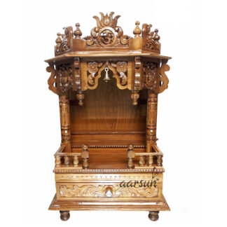 Hand Carved Wood Temple for Home and Office MNDR-0123