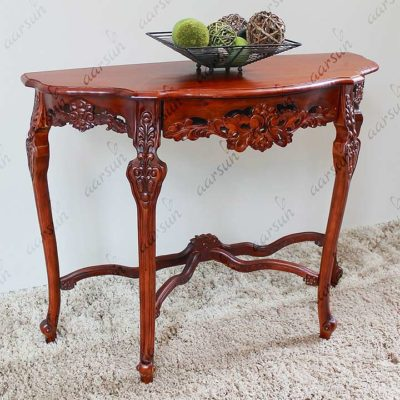 Aarsun Hand carved Floral Wooden Console in Teak CNS-0006