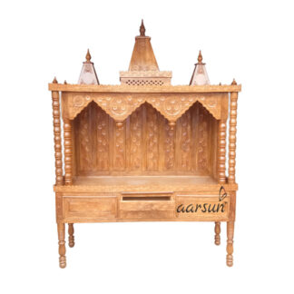 Wood Mandir in Teak Wood for Home MNDR-0129