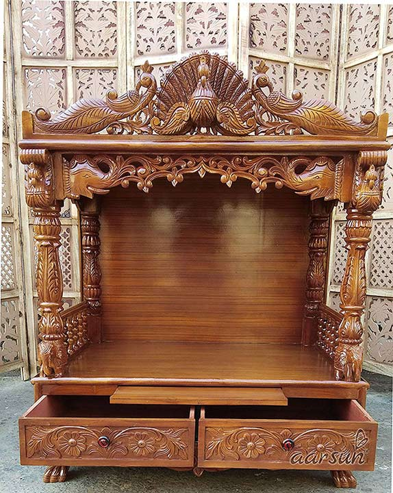 Wooden Pooja Temple with Drawers YT-36 4