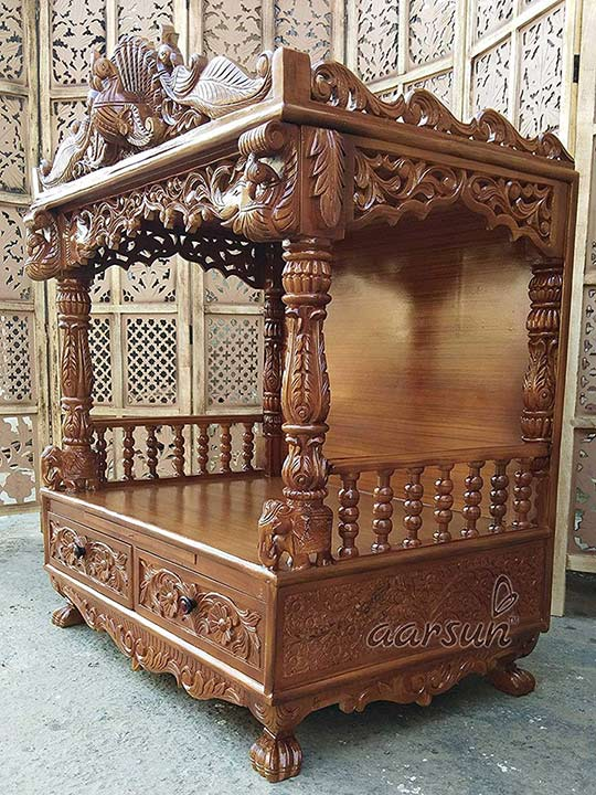 Wooden Pooja Temple with Drawers YT-36 3