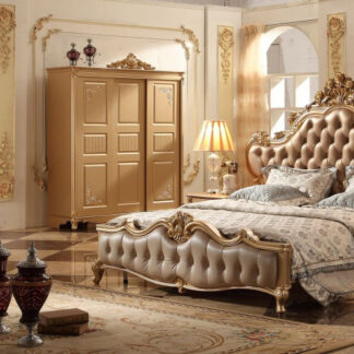 UH-BED-0045 Royal Finish Wooden Bed Aarsun
