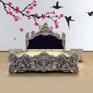 Image for Silver Bed Design with Two Night Stand Table UH-YT-232