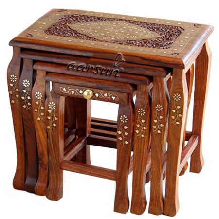Wooden Stool brass work set-of-4 UH-SDTB-0002