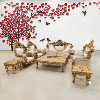 Image for 8 Seater Sofa Set in Antique Gold UH-YT-257