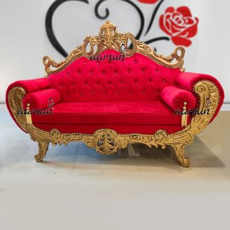 Image for Royal Gold Couch in Red Fabric UH-YT-210