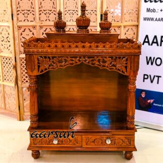 Teak Wood Home Mandir Temple Honey Finish UH-YT-305