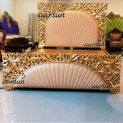 Gold-Finish-Royal-Bed-with-Leatherette-UH-YT-312