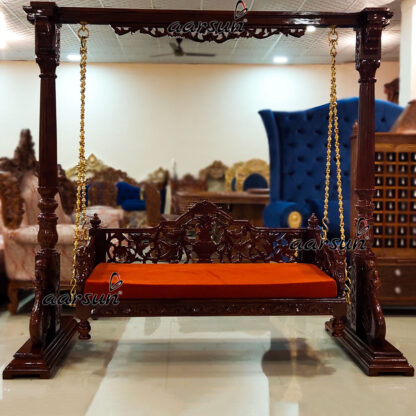 Image for Handcrafted Rust Fabric Swing in Teak Wood UH-YT-321