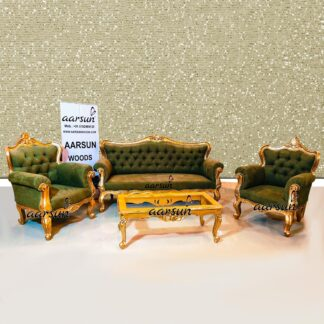 Image for Pista Green Sofa in Golden Finish UH-YT-386