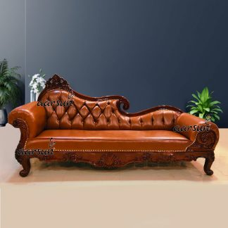 Image for Chester Design Chaise Lounge Carved in Teak Dual Tone Polish UH-YT-415