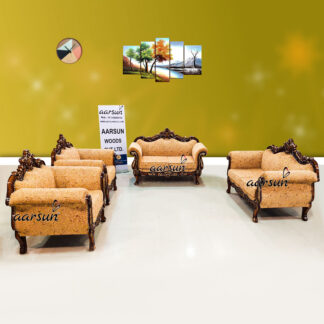 Image for Classic Triple Shade Sofa Set Carved in Teak Wood by Indian Craftsmen UH-YT-420