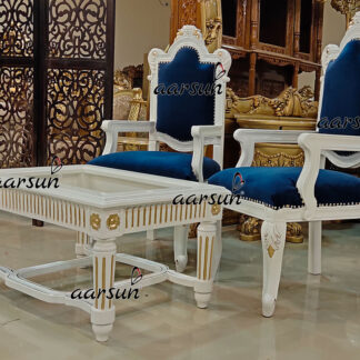 Image for White Center Table with Gold Highlight UH-YT-436CT
