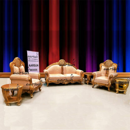 Image for Dreamy Sofa Set 5 Seater Carved in Teak & Gold Painted UH-YT-454