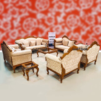 Image for Natural Wood 10 Seater Sofa Set with Center Table & Side Tables UH-YT-446