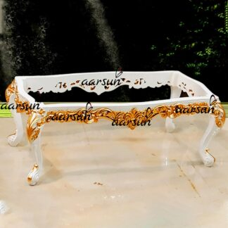 Image for Wood Center Table in White & Gold Finish UH-YT-163CT