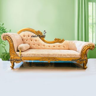 Image for Wooden Gold Finish Chaise Lounge UH-DWN-0070