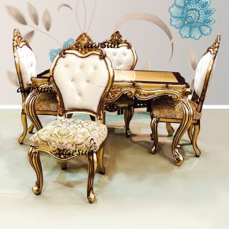Image for Gold & Brown Dual Shade 4 Seater Dining Set Custom Made UH-YT-538